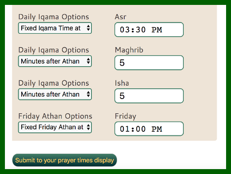 Prayer Times Display System | FivePrayers